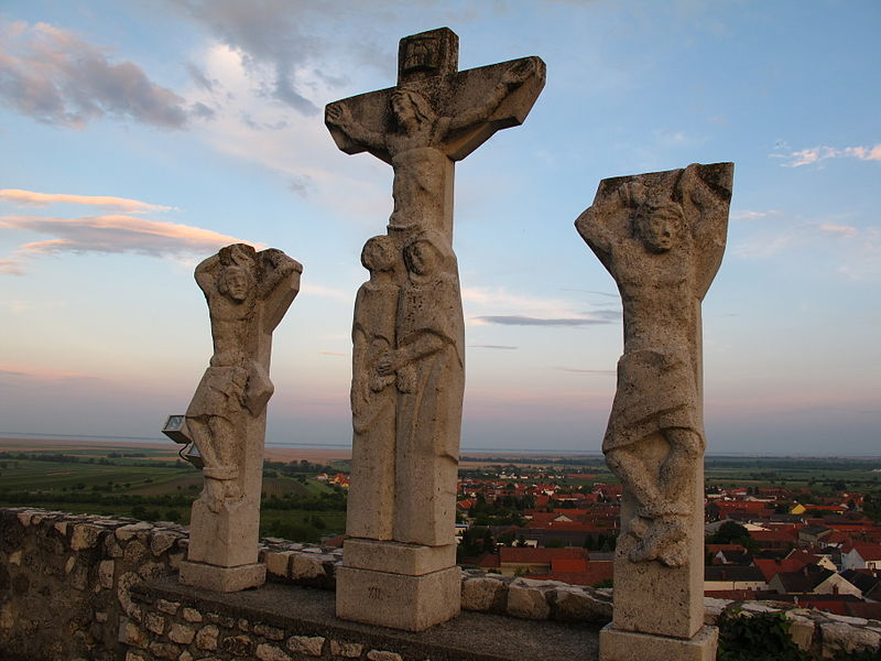 Crucifixion sculpture outdoors